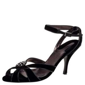 Salvatore Ferragamo Black Velvet Embellished Strappy Sandals Size 40.5