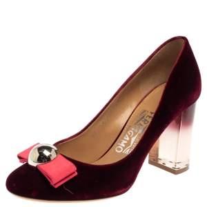 Salvatore Ferragamo Burgundy Velvet Fiammetta Bow Pumps Size 36