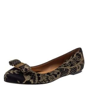 Salvatore Ferragamo Black/Gold Satin And Lace Tarita Ballet Flats Size 40