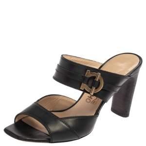 Salvatore Ferragamo Black Leather Slide Sandals Size 37.5
