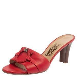 Salvatore Ferragamo Red Leather Slide Sandals Size 38.5