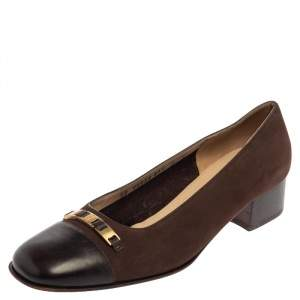 Salvatore Ferragamo Brown Nubuck And Leather Ballet Flats Size 39.5