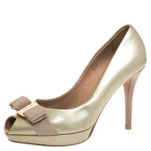Salvatore Ferragamo Beige Coated Leather Vara Bow Peep Toe Pumps Size 37