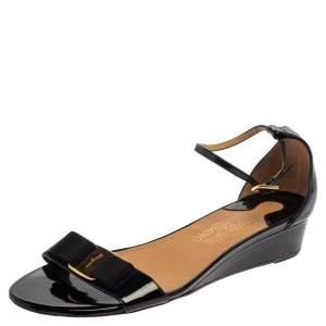Salvatore Ferragamo Black Patent Margot Vara Bow Ankle Strap Wedge Sandals Size 38.5