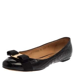 Salvatore Ferragamo Black Croc Embossed Leather Vara Bow Flats Size 37.5