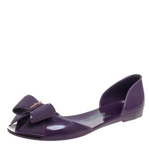 Salvatore Ferragamo Purple Rubber Bow Barbados Peep Toe Flats Size 38.5