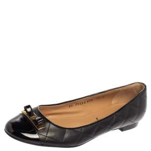 Salvatore Ferragamo Black Quilted Leather And Patent Leather Cap Toe Bow Ballet Flats Size 38