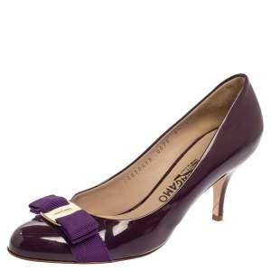 Salvatore Ferragamo Purple Patent Leather Vara Bow Pumps Size 38