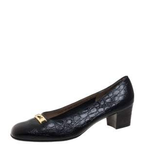 Salvatore Ferragamo Vintage Black Croc Embossed Leather Embellished Pumps Size 38.5