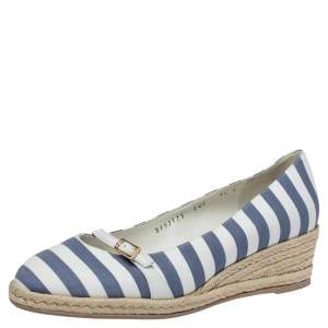 Salvatore Ferragamo Two Tone Striped Canvas And Leather Audrey Wedge Espadrille Pumps Size 38