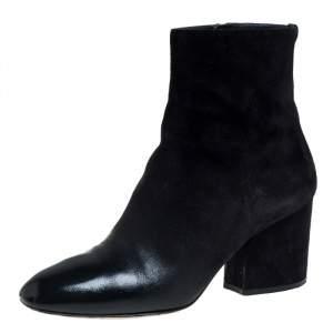 Salvatore Ferragamo Black Suede And Leather Pisa Boots Size 39.5