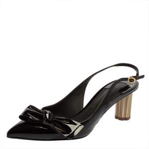 Salvatore Ferragamo Black Bow Patent Leather Slingback Pumps Size 35.5