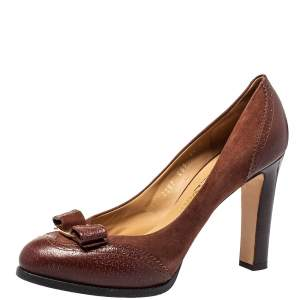 Salvatore Ferragamo Brown Brogue Leather And Suede Bow Block Heel Pumps Size 40