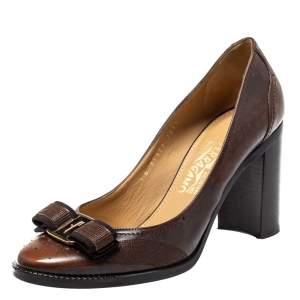 حذاء كعب عالى سالفاتورى فيراغامو كعب عريض فيونكة فارا جلد بنى مقاس 38