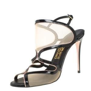 Salvatore Ferragamo Black Patent Leather And Mesh Cutout Ankle Strap Sandals Size 40