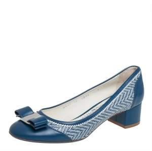 Salvatore Ferragamo Blue Leather Vara Bow Block Heel Pumps Size 37.5