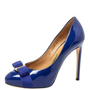 حذاء كعب عالي سالفاتوري فيراغامو جلد أزرق لامع بفيونكة نعل سميك مقاس 38