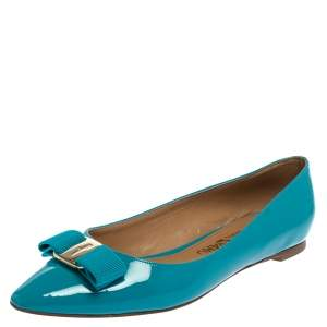 Salvatore Ferragamo Blue Patent Leather Vara Bow Flats Size 39