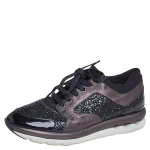 Salvatore Ferragamo Black/Metallic Grey Glitter And Leather Low Top Sneakers Size 39