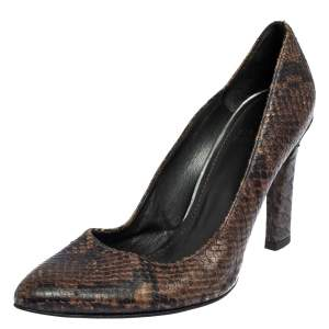 Salvatore Ferragamo Brown Python Embossed Leather Pumps Size 39