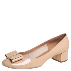 Salvatore Ferragamo Beige Patent Leather Block Heel Pumps Size 40