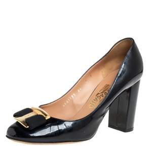 Salvatore Ferragamo Black Patent Leather Alice Block Heel Pumps Size 38.5