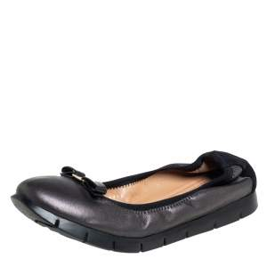 Salvatore Ferragamo Black Leather Bow Scrunch Ballet Flats Size 39.5