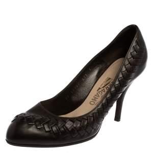 Salvatore Ferragamo Dark Brown Leather Pumps Size 39.5