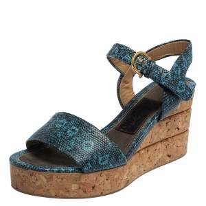 Salvatore Ferragamo Blue Lizard Embossed Leather Madea Cork Wedge Sandals Size 35.5