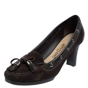 Salvatore Ferragamo Brown Suede And Leather Loafer Pumps Size 38.5