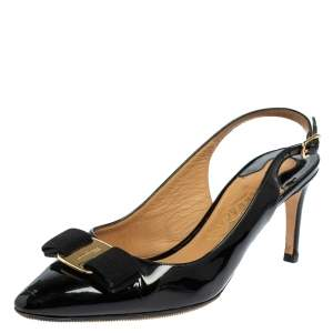 Salvatore Ferragamo Black Patent Leather Vara Bow Slingback Sandals Size 38