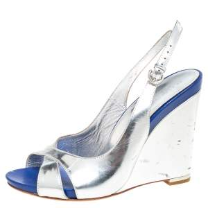 Sergio Rossi Blue/Silver Leather Criss Cross Wedge Sandals Size 38.5