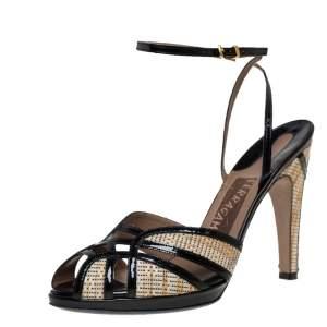 Salvatore Ferragamo Black Patent Leather And Raffia Ankle Strap Sandals Size 39