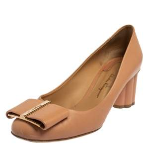 Salvatore Ferragamo Beige Leather Varina  Block Heel Pumps Size 37.5