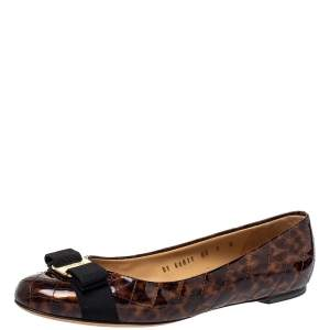 Salvatore Ferragamo Brown Tortoiseshell Print Patent Leather Varina Ballet Flats Size 39.5