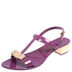Salvatore Ferragamo Purple Jelly Favilia Bow Ankle Strap Sandals Size 36.5
