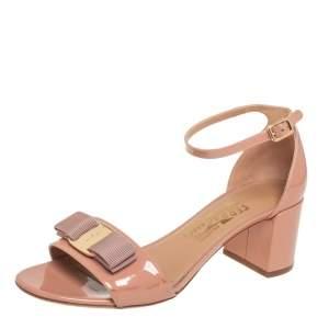 Salvatore Ferragamo Nude Pink  Patent Vara Bow Ankle Strap Sandals Size 37.5