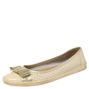 Salvatore Ferragamo Cream Leather Rufina Ballet Flats Size 38