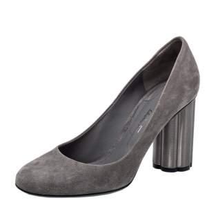 حذاء كعب عالي سالفاتوري فيراغامو كعب سميك سويدي رصاصي مقاس 37.5