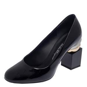 حذاء كعب عالي سالفاتوري فيراغامو ليلان جلد أسود لامع مقدمة مستديرة مقاس 37.5