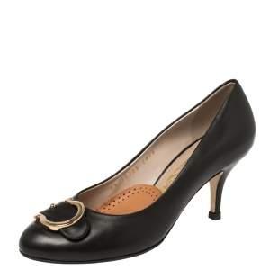 حذاء كعب عالي سلفاتوري فيراغامو كاسيا جلد أسود مقاس 36.5