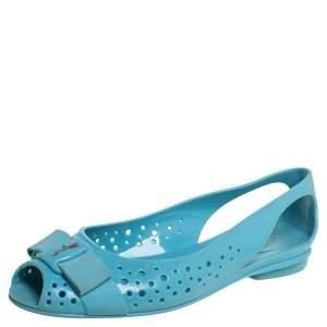 Salvatore Ferragamo Blue Rubber Slip on Flats Size 38.5