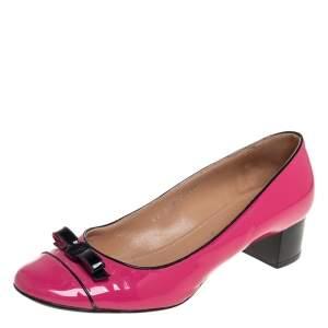 Salvatore Ferragamo Pink Patent Leather Bow Cap Toe Pumps Size 39.5