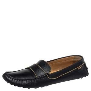 Salvatore Ferragamo Black Lizard Embossed Leather Slip On Loafers Size 40.5