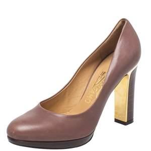Salvatore Ferragamo Brown Leather Rodeadiv Round Toe Pumps Size 36.5