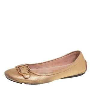 Salvatore Ferragamo Gold Textured Leather Gancio Ballet Flats Size 37