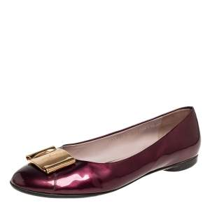 Salvatore Ferragamo Burgundy Patent Leather Buckle Embellished Ballet Flats Size 39