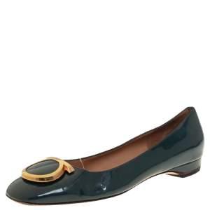Salvatore Ferragamo Teal Blue Patent Leather Flats Size 38