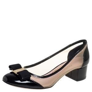 Salvatore Ferragamo Black Patent Leather And Mesh Vara Bow Block Heel Pumps Size 37.5