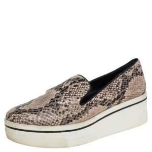 Stella McCartney Brown Faux Python Platform Slip On Sneakers Size 38